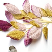 Spray of Lilac, Amber and Burgundy Velvet Leaves  Milliner's Hat Trim